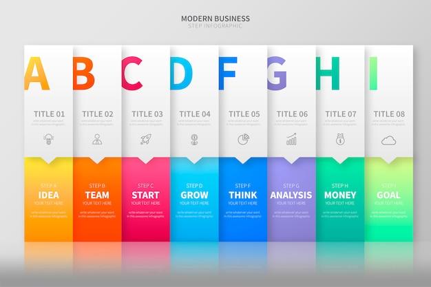 Красочный шаг инфографики шаблон