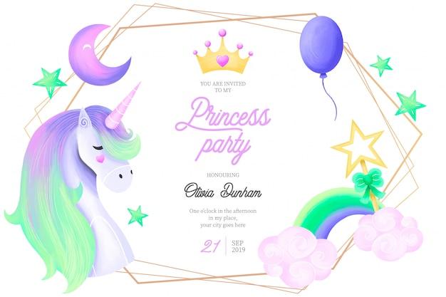 かわいいプリンセスパーティーの招待状のテンプレート