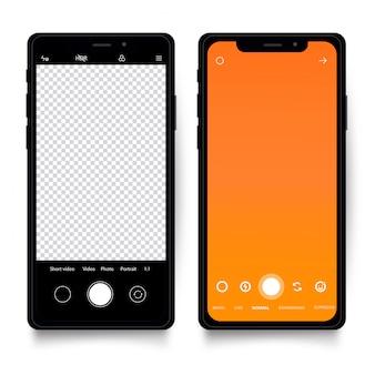 カメラのインターフェイスを持つスマートフォンのテンプレート