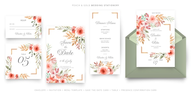 緑とピンクの結婚式の招待カードテンプレート、文房具セット