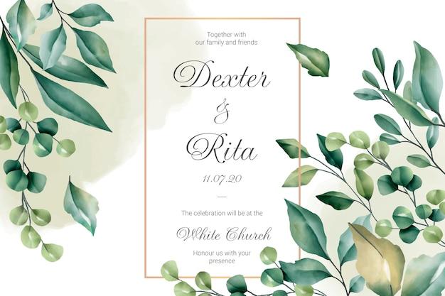 花のボーダーとの結婚式の招待カード