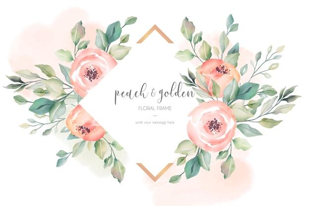 桃と黄金の美しい花のフレーム