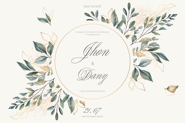 黄金の葉と緑の葉のエレガントな結婚式の招待状