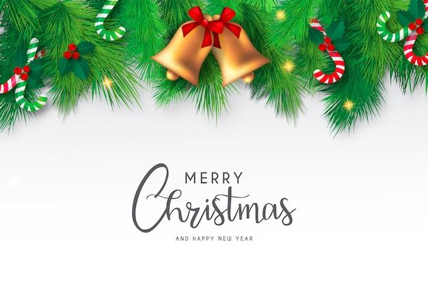Рождественский фон с милыми колокольчиками и элементами