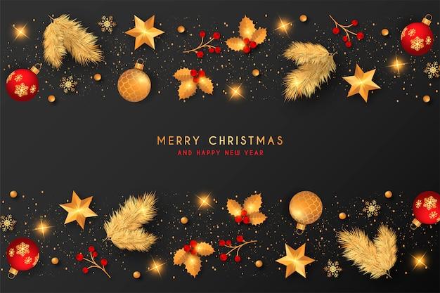 ゴールデン&赤い装飾が施されたクリスマスの背景