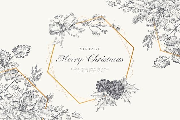 冬の自然とビンテージのクリスマス背景