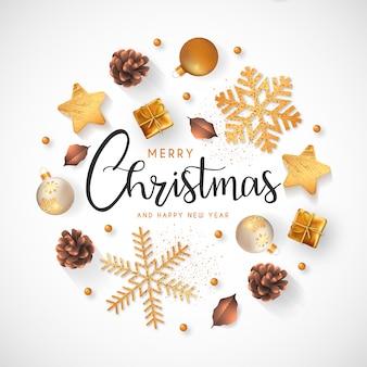 金色の装飾とクリスマス