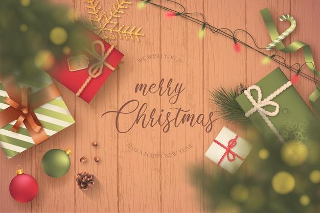 プレゼントとライトのある素敵なクリスマスシーン
