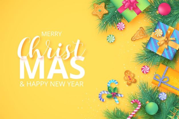かわいい色の素敵なクリスマスの装飾