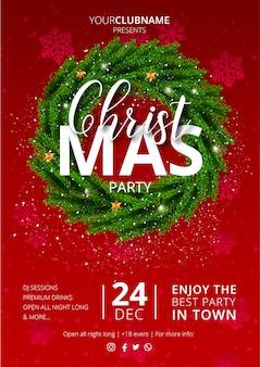 赤で素敵なクリスマスパーティーのポスター