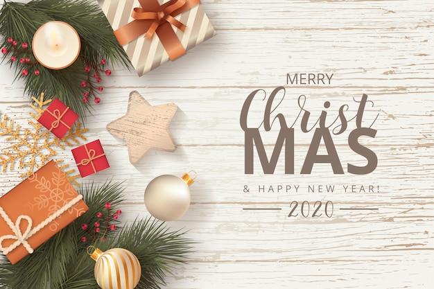 Новогоднее украшение в деревянном фоне