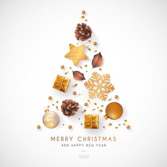 黄金の装飾とエレガントなクリスマス背景