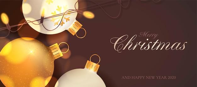 クリスマスライトとエレガントなクリスマスバナー