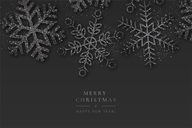 Черный новогодний фон со сверкающими снежинками