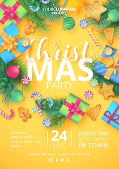印刷可能なクリスマスパーティーのポスター