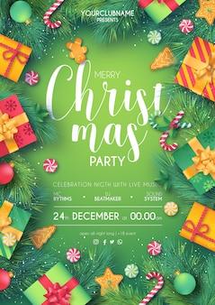 印刷できる緑と赤のクリスマスパーティーポスター