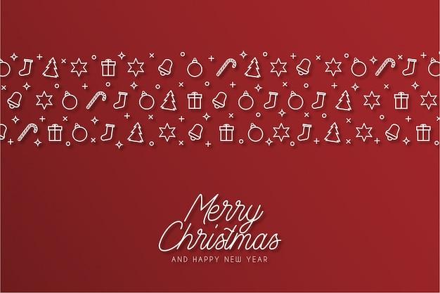 アイコンとモダンなメリークリスマスの背景