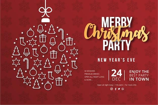 現代のメリークリスマスパーティーポスター