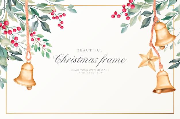 かわいい装飾と水彩のクリスマス背景