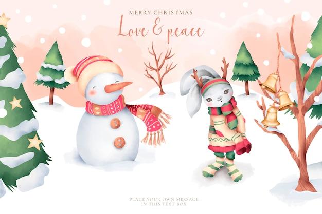 かわいいキャラクターと素敵な水彩画のクリスマスカード