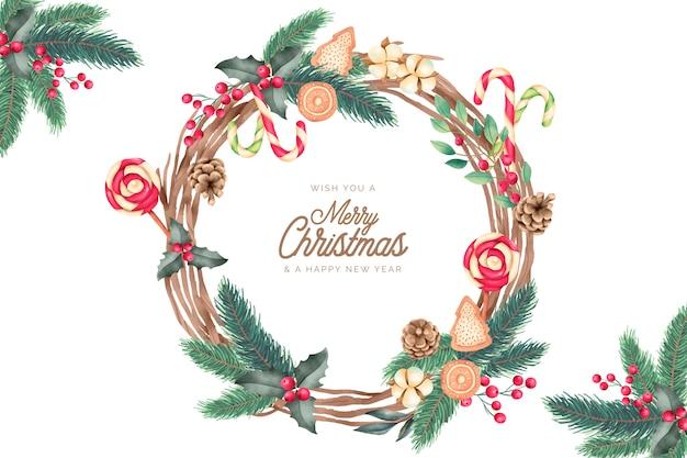 水彩の装飾品でクリスマスフレーム