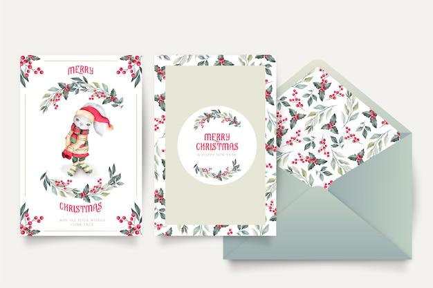 Прекрасная рождественская открытка шаблон с конвертом