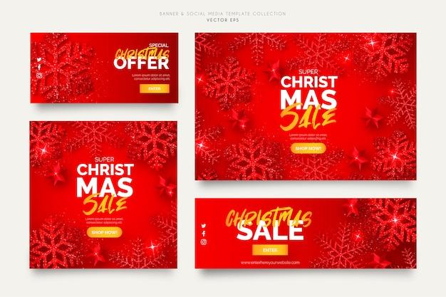 Красные рождественские продажи баннеров шаблоны