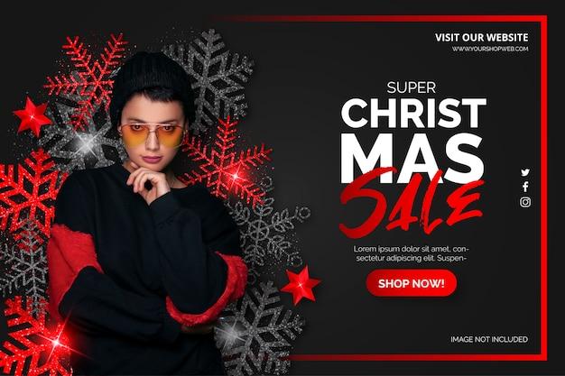 Черно-красная рождественская распродажа баннер