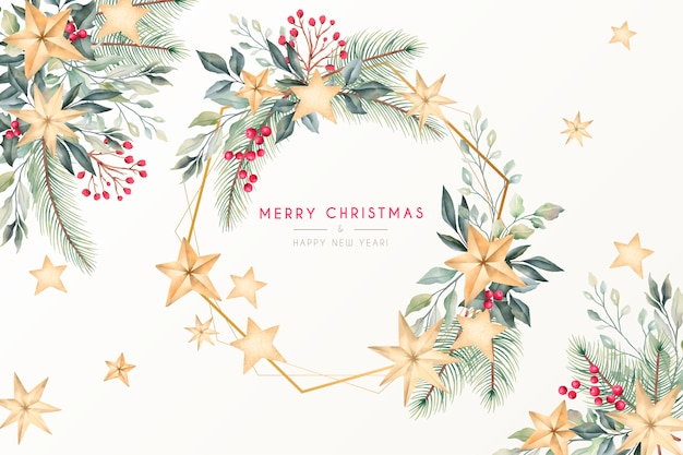 ゴールデンフレームと美しい水彩クリスマスグリーティングカード