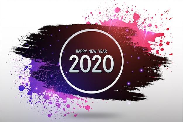 カラフルなスプラッシュと現代の幸せな新年の背景