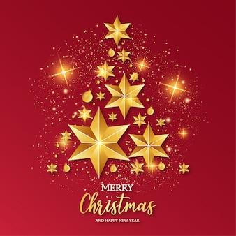 メリークリスマスレッドカードテンプレート