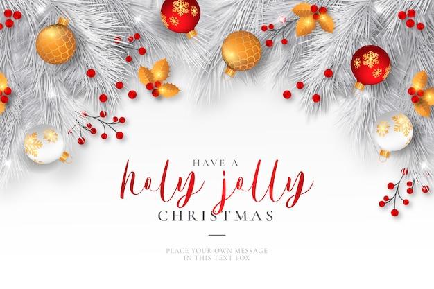 現実的な装飾とエレガントなクリスマス背景