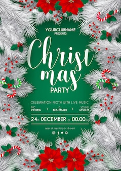 エレガントな白と緑のクリスマスパーティーポスターテンプレート