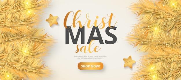 Золотая рождественская распродажа баннер шаблон