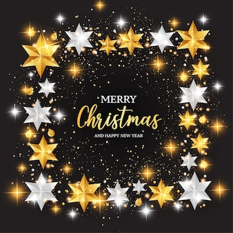 Счастливого рождества фон с рамкой из звезд