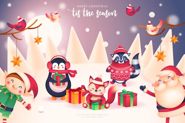 Веселая новогодняя открытка с дедом морозом и друзьями