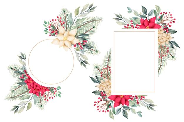 冬の自然と水彩のクリスマス花のフレーム