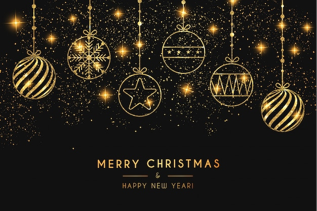 ゴールデンボールとエレガントなメリークリスマスの背景
