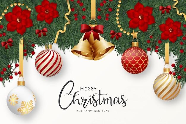 現実的な装飾が施されたモダンなメリークリスマスと幸せな新年のグリーティングカード