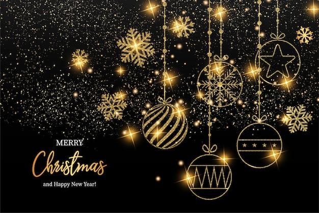 エレガントなメリークリスマスと幸せな新年のグリーティングカード