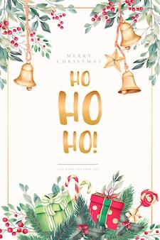 美しい装飾品で水彩のクリスマスカード