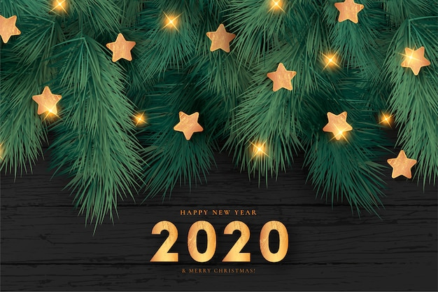 Реалистичная новогодний фон с золотыми звездами
