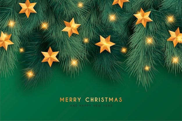装飾品で美しい緑のクリスマス背景