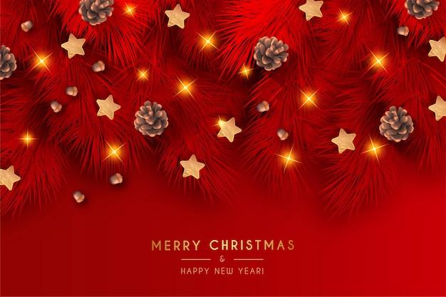 Элегантный красный новогодний фон с реалистичным украшением