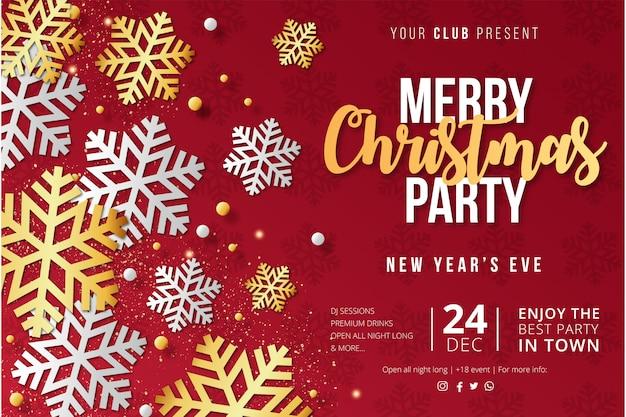 雪の結晶のモダンなメリークリスマスパーティーポスターテンプレート