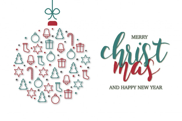 Веселая рождественская открытка с иконами шаблона