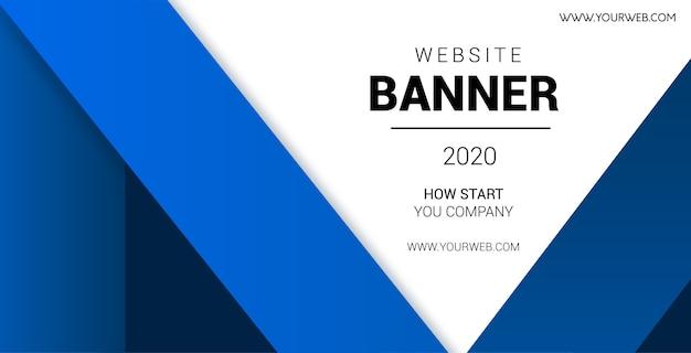 Профессиональный баннер сайта с синими фигурами