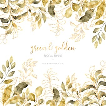 Зеленая и золотая цветочная рамка