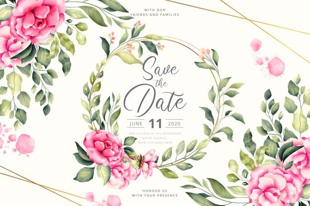 ピンクの花と花の結婚式の招待状