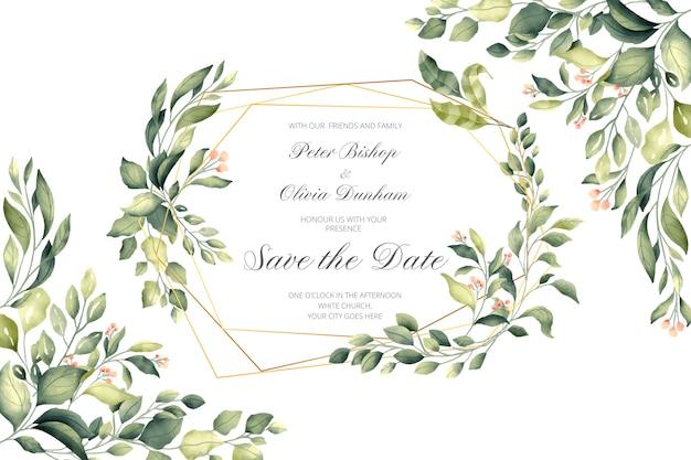 Свадебное приглашение с золотой рамкой и зелеными листьями